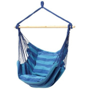 Hammock Swing Chair - Hanging Rope Chair Portable Porch Seat With Two Cushions for Bedroom, Patio, Travel, Camping, Garden, Indoor, Outdoor Support Kids and Adults up to 120kg