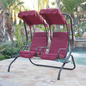Belleze 2 Person Outdoor Patio Swing Set Armrest Cup-Holder Steel Seat Padded w/ Canopy