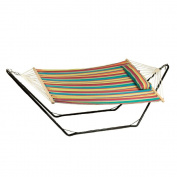 Sunnydaze Cotton Fabric Hammock and Detachable Pillow with 3m Stand, Candy Stripe, 140kg Capacity