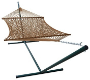 Phat Tommy Outdoor Polyester Garden Hammock and Stand Set - For Backyard, Patio and Pool Area