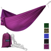 Yes4All Lightweight Camping Hammock with Carry Bag – Multi Colour Available (Single) & Tree Strap