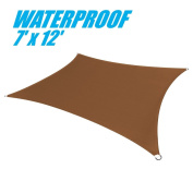 ColourTree 100% BLOCKAGE Waterproof 2.1m x 3.7m Sun Shade Sail Canopy Rectangle Coffee Brown- Commercial Standard Heavy Duty - 220 GSM - 4 Years Warranty