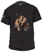 Hazard 4 Unisex Huntress(Tm) Cotton T-Shirt By Frank Frazetta - black