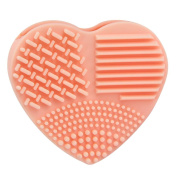 SMYTShop Heart Shape Cleaning MakeUp Washing Brush Silicone Glove Scrubber Board Cosmetic Clean Tools