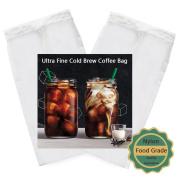 2 Pack - Cold Brew Coffee Bag - 22cm x 13cm Ultra Fine Mesh-75 Micron Food Grade Nylon, Seamless Bottom Reusable Cold Brew Coffee Filter/Coffee Maker