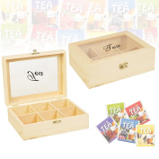 Panorama Pine Wooden Tea Box Bag 6 Compartments Storage Hinged Lid Spice Chest Kitchen
