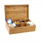 Mind Reader Bamboo Tea Box Storage Organiser, 8 Compartment Chest Box, Natural
