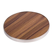 "Creative Home 50249 Fibre 7"" Round Trivet, Serving Board Acacia Wood Finish and Stainless Steel Trim, Brown"