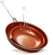 20cm / 25cm Combo Copper Fry Pan Set Ceramic Non-Stick Fast Even Heating with Induction Bottom Oven Safe stainless Steel Handle No Oil/Butter Needed / Wipes Clean & Dishwasher Safe