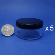5 Pcs Made in Taiwan 30 g Pot Travel Size Sifter Loose Powder Plastic Jar with Rotating Sifter & Black Lid