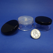 2 Pcs Made in Taiwan 30 g Pot Travel Size Sifter Loose Powder Plastic Jar with Rotating Sifter & Black Lid