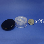 25 Pcs Made in Taiwan 20 g Pot Travel Size Sifter Loose Powder Plastic Jar with Rotating Sifter & Black Lid