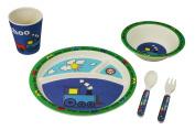 EcoBamboo Ware Kid's Train Dinnerware Set with Tumbler, Blue