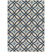 0.6m x 0.9m Encircled Stars Midnight Blue and Ivory Area Throw Rug