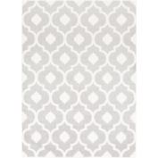 0.6m x 0.9m Geometric Quatrefoil Grey and White Decorative Area Throw Rug