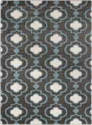 0.6m x 0.9m Spaded Flush Frosted White and Shadow Grey Shed-Free Area Throw Rug