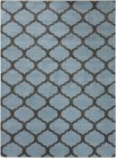 0.6m x 0.9m Celestial Gem Silhouette Smokey Blue and Charcoal Grey Area Throw Rug