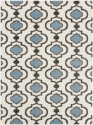 0.6m x 0.9m Spaded Flush Pristine White and Stone Blue Shed-Free Area Throw Rug