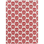 0.6m x 0.9m Villainous Glance Ivory White and Bright Red Cotton Area Throw Rug