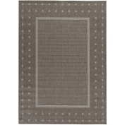 Berrnour Home Summer Collection Natural Geometric Bordered Design Indoor/Outdoor Area Rug, 1.5m x 2.1m