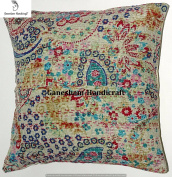 Home Decorative Indian Throw Pillow Case Bedroom Decor Boho Decor Boho Chic Bohemian Decorative Pillow For Sofa Cotton Sequin Kantha Cushion Cover