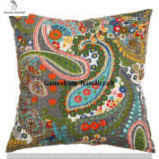 Kantha Decorative Indian Throw Pillow Case Designer Paisley Pillow Insert Bedroom Decor Boho Decor Boho Chic Bohemian Decorative Pillow For Couch Cotton Sequin Kantha Cushion Cover Home Decor 41cm x 41cm