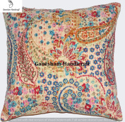 Beautiful Decorative Indian Paisley Throw Pillow Case Home Decor Bedroom Decor Boho Decor Boho Chic Bohemian Decorative Pillow For Couch Cotton Sequin Floral Kantha Handmade Cushion Cover (16x16) inch