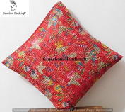 Floral Kantha Decorative Home Decor Living Room Decor Cotton Cushion Cover Boho Chic Bohemian Accent Pillow For Couch Beautiful Indian Throw Pillow Case Handmade Toss Pillow Shams (16x16) inch