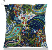 Handmade Kantha Home Decor Living Room Decor Cotton Cushion Cover Hippie Chic Bohemian Accent Pillow For Couch Beautiful Indian Throw Boho Pillow Insert Decorative Pillow Case