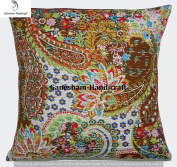 Kantha Decorative Indian Throw Pillow Case Designer Paisley Pillow Insert Boho Decor Boho Chic Bohemian Decorative Pillow For Couch Cotton Sequin Kantha Cushion Cover Home Decor( 16x16) inch