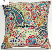 Paisley Kantha Decorative Handmade Pillow Insert Home Decor Living Room Decor Cotton Cushion Cover Boho Chic Bohemian Pillow For Couch Beautiful Indian Throw Pillow Case