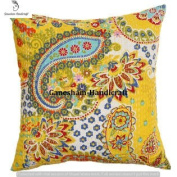 Yellow Floral Kantha Decorative Home Decor Living Room Decor Boho Chic Bohemian Accent Pillow For Couch Beautiful Indian Throw Pillow Case Handmade Toss Pillow Shams Cotton Cushion Cover (16x16) inch