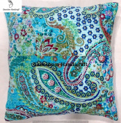 Beautiful Decorative Indian Throw Pillow Case Home Decor Designer Pillow Boho Decor Boho Chic Bohemian Decorative Pillow For Sofa Cotton Sequin Floral Kantha Handmade Cushion Cover (16x16) inch