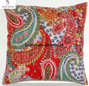 Beautiful Decorative Indian Paisley Throw Pillow Case Home Decor Bedroom Decor Boho Decor Boho Chic Bohemian Decorative Pillow For Sofa Cotton Sequin Floral Kantha Handmade Cushion Cover (16x16) inch