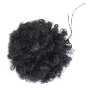 Short curly synthetic ponytail afro kinky curly drawstring ponytail synthetic hair extension , short puff hair(1b# Black)