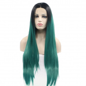 OMG Hair Silky Straight Synthetic Lace Front Wigs Two Tone Ombre Wig Lace Front Synthetic Wigs Heat Resistant