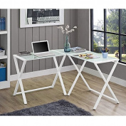 WE Furniture Elite Soreno Glass Corner Computer Desk, White