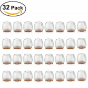 BESOKUSE Chair Leg Caps Feet Pads Round Furniture Table Covers Silicone Floor Protectors,32Pcs