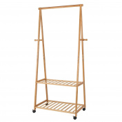 HOMFA Bamboo Clothes Rack on Wheels Rolling Garment Rack with 4 Coat Hooks and 2-Tyre Storage Box Shelves