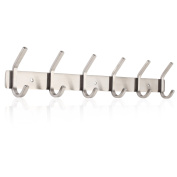 HOMFA Coat Hook Wall Mounted Stainless Steel Hook Rack with 6 Dual Hanger Hooks for Coats, Hats, Scarves, key