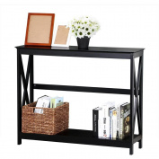 Yaheetech 2 Tier X Design Hallway Large Console Table Entryway Accent Tables with Storage Shelf Living Room Entrance Furniture