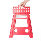 Acko 41cm Super Strong Folding Step Stool for Adults and Kids, Red Kitchen Stepping Stools, Garden Step Stool, holds up to 180kg