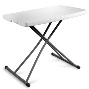 Zimmer Personal Folding Table Sturdy And Durable Steel Frame Legs, 4 Adjustable Heights, Quick Fold up Portable Table, Weather and Impact Resistant For Indoor/Outdoor Use, 80cm x 50cm , White