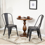 Belleze Set of (2) Side Chairs Dining Set w/ High Back Stackable Chair,