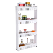 HOMFA 4-Tier Gap Kitchen Storage Slim Slide Out Tower Rack Shelf with Wheels, Utility Trolley Organisation Serving Cart on Casters