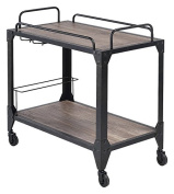 ACME Furniture Caitlin 98174 Serving Cart, Rustic Oak & black