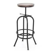 IKAYAA Industrial Style Bar Stool Adjustable Height Swivel Kitchen Dining Chair Natural Pinewood Top
