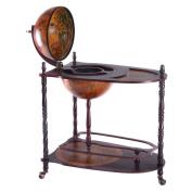 Goplus 90cm Wood Globe Wine Bar Stand 16th Century Italian Rack Bigger Shelf for More Liquor Bottle