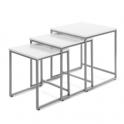 iKayaa 3PCS Nesting Tables Set End Coffee Table Living Room Home Furniture, Metal