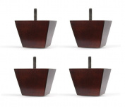 7.6cm Wood Sofa/Chair/Ottoman Tapered Leg Walnut Finish Threaded 0.8cm Bolt - Set of 4